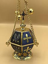 Кадило в синем декоре эмалью
