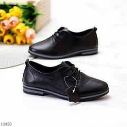 Классические черные кожаные женские туфли из натуральной кожи