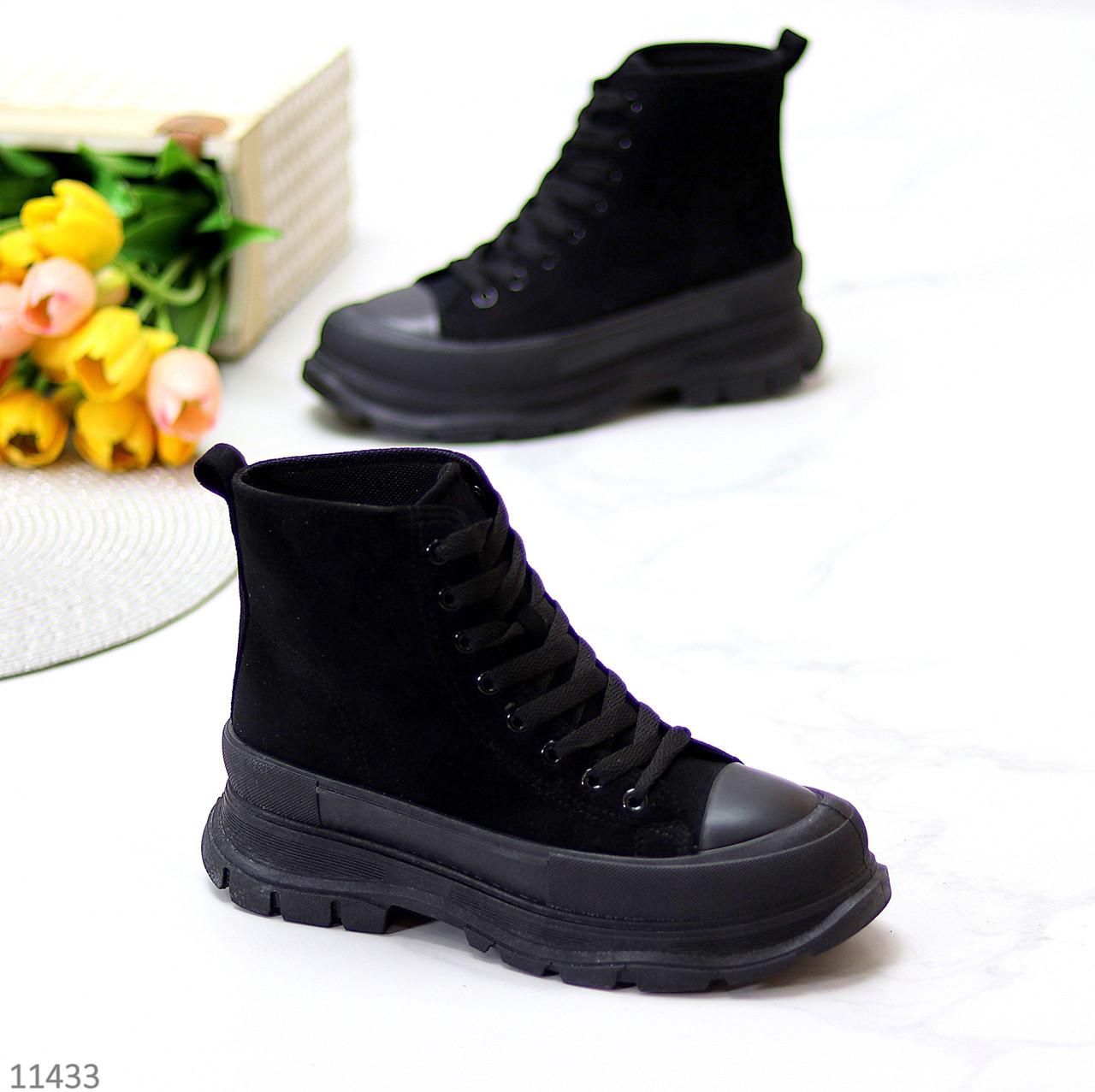 Актуальні чорні жіночі замшеві жіночі черевики на шнурівці на платформі