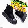 Актуальні чорні жіночі замшеві жіночі черевики на шнурівці на платформі, фото 8
