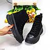 Актуальні чорні жіночі замшеві жіночі черевики на шнурівці на платформі, фото 9