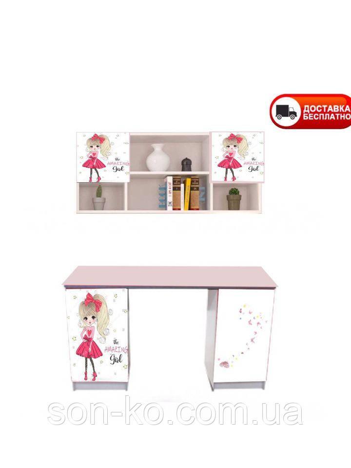 Стіл письмовий дитячий з малюнками Дівчинка в червоному платті. Безкоштовна доставка