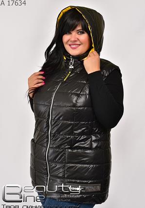 Жилетка жіноча великого розміру чорний Розміри: 50.52.54.56.58.60.62.64, фото 2