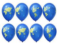 """Воздушные шарики Глобус пастель синяя, шелкография 12"""" (30 см) купить оптом ТМ Gemar"""