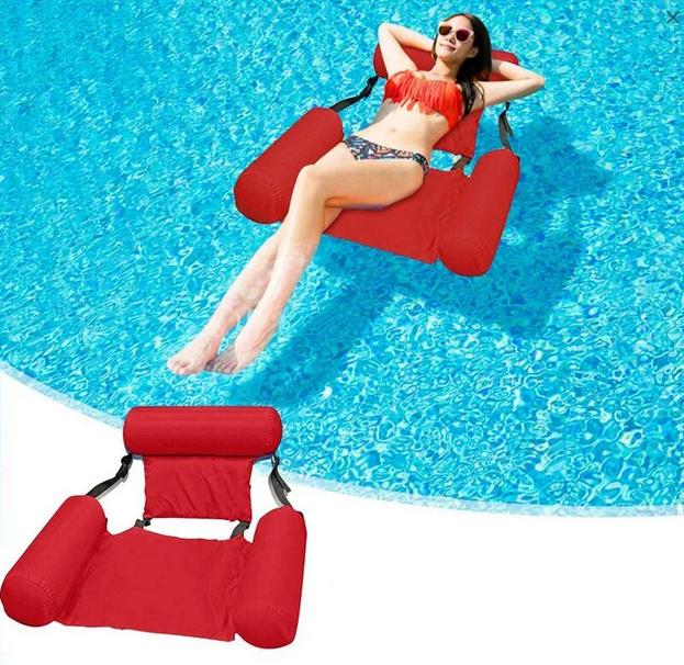 Надувний матрац стілець складаний плаваючий Червоний | Пляжний водний гамак крісло