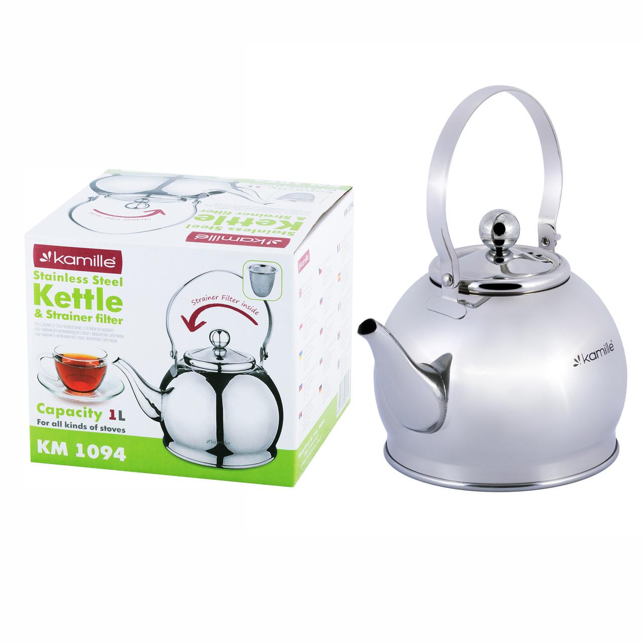 Чайник-заварник из нержавеющей стали с ситечком для индукции Kamille KM-1094 (1 л)