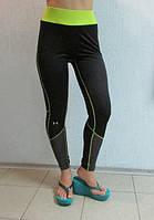 Женские  спортивные лосины UNDER ARMOUR (6602) черные с салатовым код 036 Б
