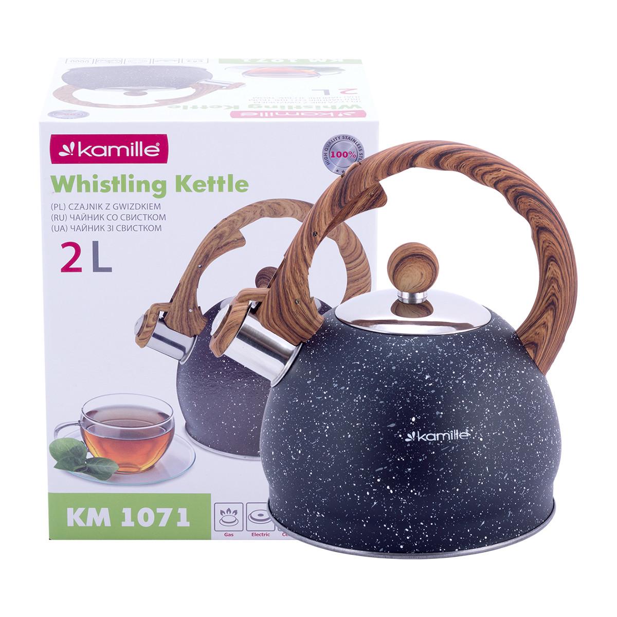 Чайник из нержавеющей стали со свистком и бакелитовой ручкой для индукции и газа Kamille KM-1071 (2 л)