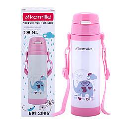 Термобутылка дитяча Kamille Рожевий 550мл з нержавіючої сталі KM-2086RZ