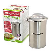 Домашня ветчинница з термометром Kamille KM-6506 алюмінієва прес для шинки на 1.5 л, фото 1