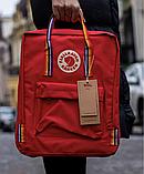 Рюкзак Kanken Fjallraven Classic 16л Красный канкен классик с радужными ручками школьный, портфель Red, фото 2