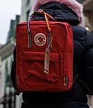 Рюкзак Kanken Fjallraven Classic 16л Красный канкен классик с радужными ручками школьный, портфель Red, фото 3
