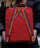 Рюкзак Kanken Fjallraven Classic 16л Красный канкен классик с радужными ручками школьный, портфель Red, фото 4