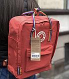Рюкзак Kanken Fjallraven Classic 16л Красный канкен классик с радужными ручками школьный, портфель Red, фото 6