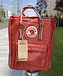 Рюкзак Kanken Fjallraven Classic 16л Красный канкен классик с радужными ручками школьный, портфель Red, фото 7