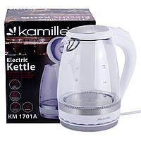 Чайник электрический с синей LED подсветкой и стальными декоративными вставками Kamille KM-1701A (1.5 л), фото 1
