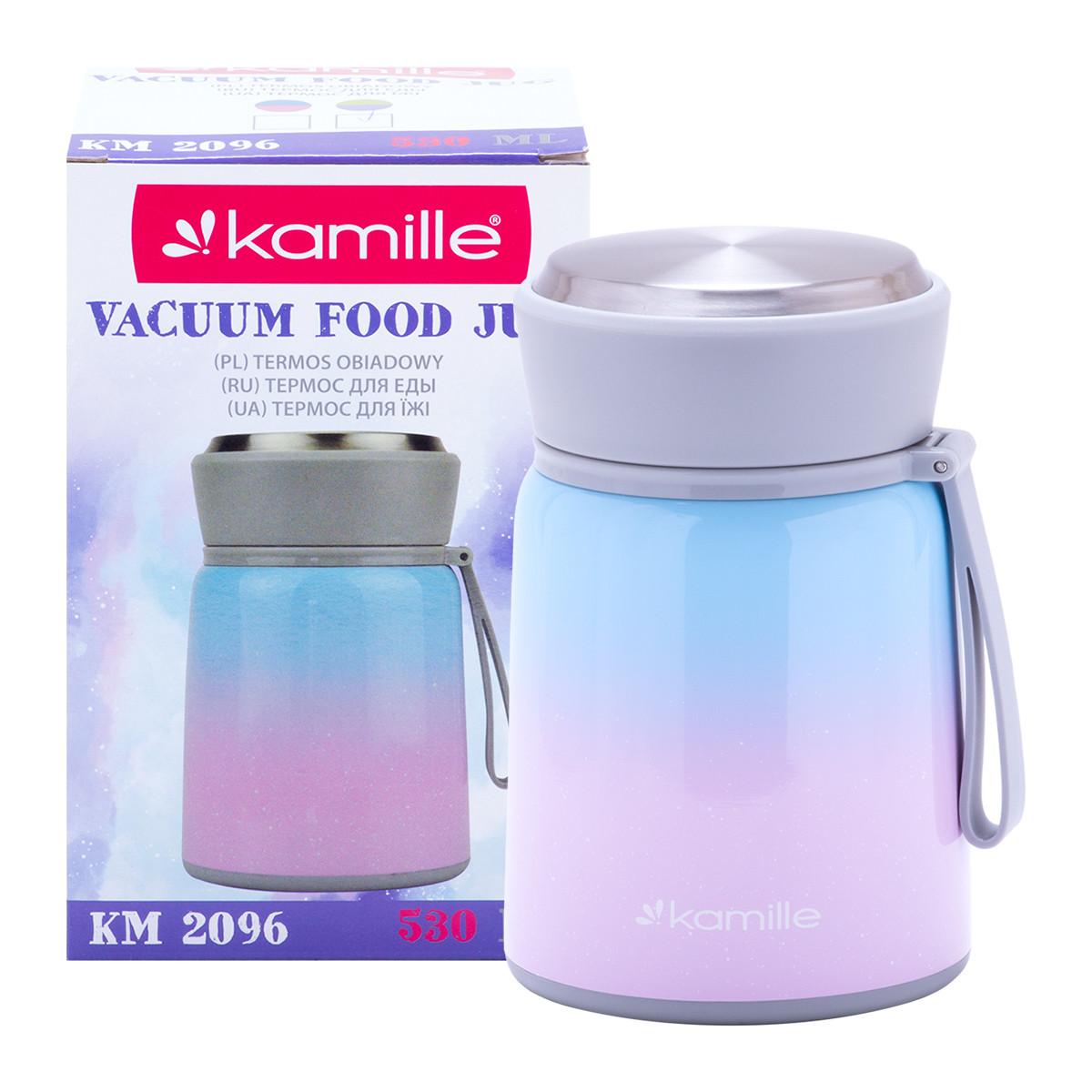 Термос харчовий обідній для супу Kamille KM-2096 Рожевий 530мл з нержавіючої сталі