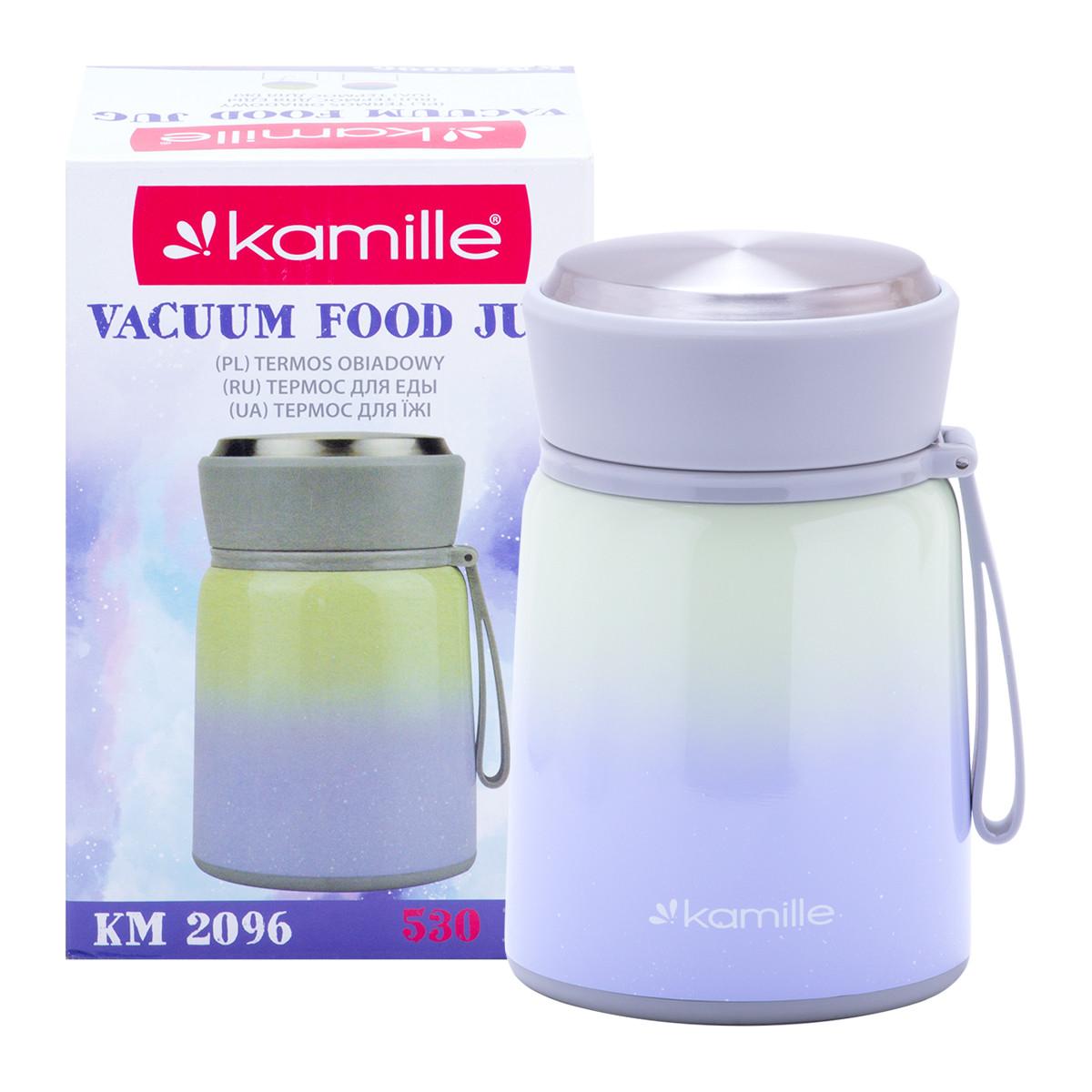Термос пищевой обеденный для супа из нержавеющей стали Фиолетовый Kamille KM-2096 (530 мл)