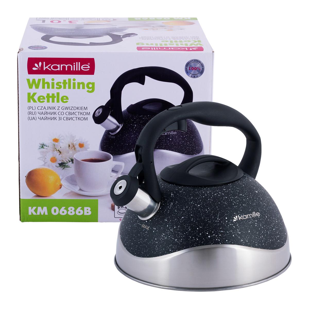 Чайник со свистком из нержавеющей стали для индукции и газа Черный Kamille KM-0686B (2,8 л)