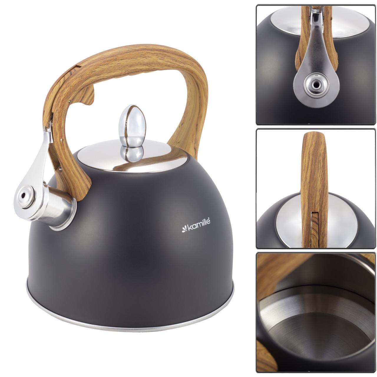 Чайник из нержавеющей стали со свистком для индукции и газа Черный Kamille KM-1096 (2.5 л)