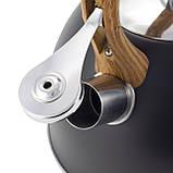 Чайник из нержавеющей стали со свистком для индукции и газа Черный Kamille KM-1096 (2.5 л), фото 7