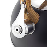 Чайник из нержавеющей стали со свистком для индукции и газа Черный Kamille KM-1096 (2.5 л), фото 9