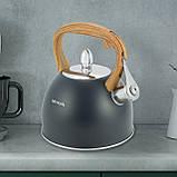 Чайник из нержавеющей стали со свистком для индукции и газа Черный Kamille KM-1096 (2.5 л), фото 10