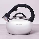 Чайник из нержавеющей стали со свистком и стеклянной крышкой для индукции и газа Kamille KM-0687 2.8 л, фото 2