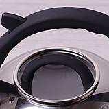 Чайник из нержавеющей стали со свистком и стеклянной крышкой для индукции и газа Kamille KM-0687 2.8 л, фото 3
