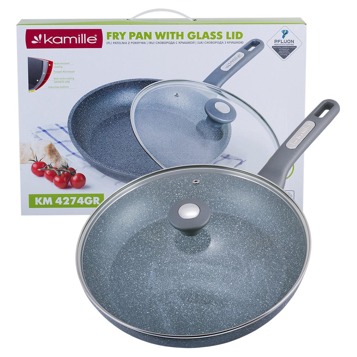 Сковорода с гранитным покрытием и крышкой Kamille KM-4274GR для индукции и газа 30 см