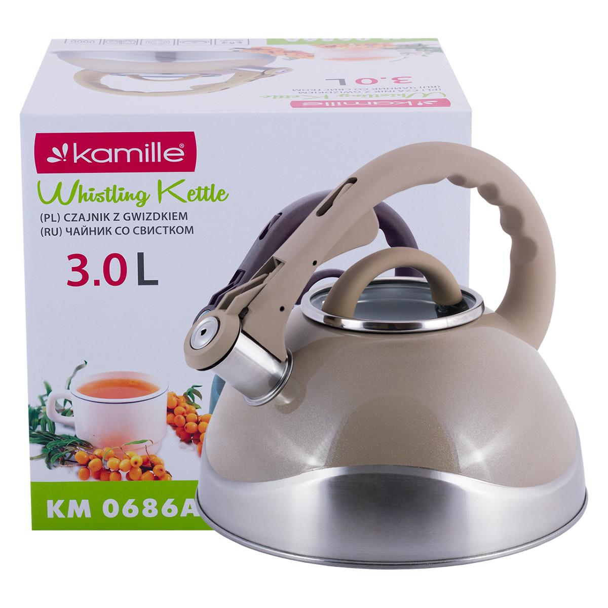 Чайник из нержавеющей стали со свистком и стеклянной крышкой для индукции и газа Бежевый Kamille KM-0686A 3 л