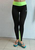 Женские спортивные лосины ADIDAS (3306) черные с салатовым код 042 Б