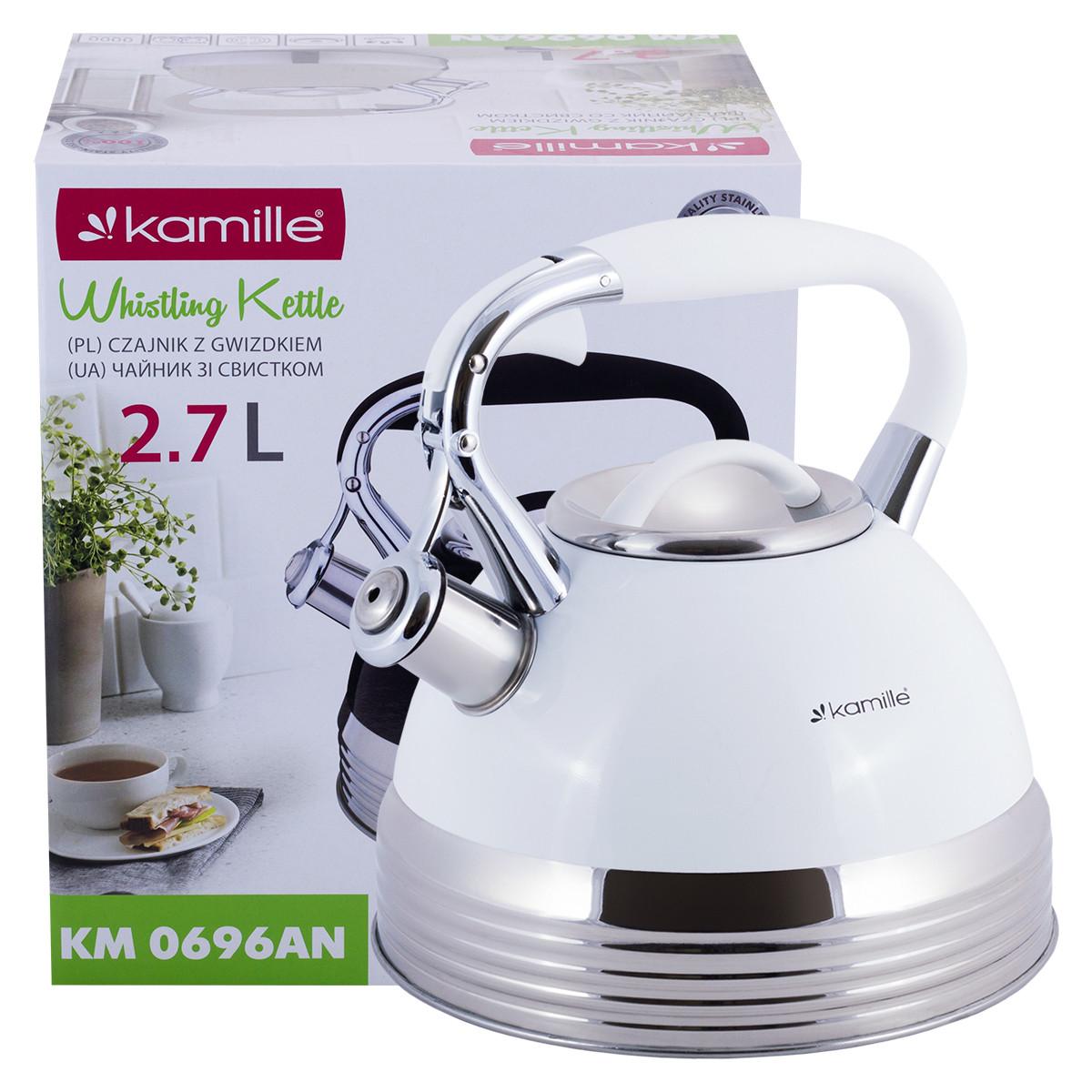 Чайник из нержавеющей стали со свистком и ручкой для индукции и газа Белый Kamille KM-0696AN (2.7 л)