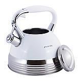 Чайник из нержавеющей стали со свистком и ручкой для индукции и газа Белый Kamille KM-0696AN (2.7 л), фото 7