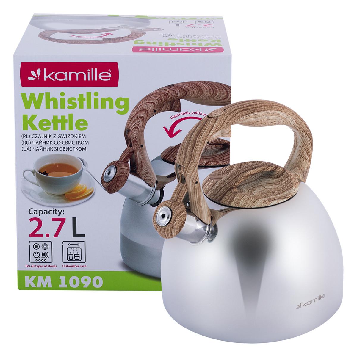 Чайник из нержавеющей стали со свистком и бакелитовой ручкой Kamille KM-1090 (2.7 л)