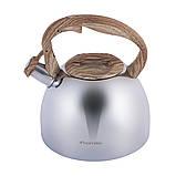 Чайник из нержавеющей стали со свистком и бакелитовой ручкой Kamille KM-1090 (2.7 л), фото 5