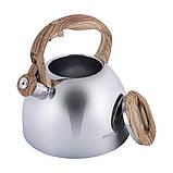 Чайник из нержавеющей стали со свистком и бакелитовой ручкой Kamille KM-1090 (2.7 л), фото 8