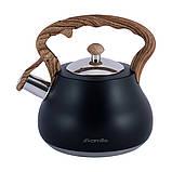 Чайник Kamille KM-1092 Чорний 2,7 л з нержавіючої сталі зі свистком і нейлонової ручкою, фото 2
