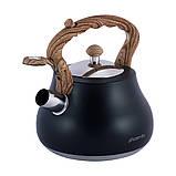 Чайник Kamille KM-1092 Чорний 2,7 л з нержавіючої сталі зі свистком і нейлонової ручкою, фото 7