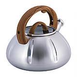 Чайник Kamille KM-0671 Дерево 3л з нержавіючої сталі зі свистком і скляною кришкою для індукції і газу, фото 6