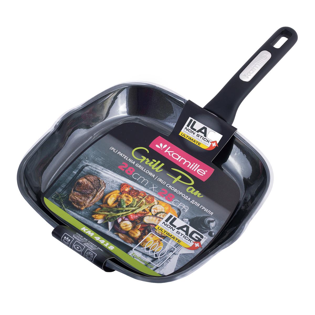 Сковорода-гриль Kamille KM-4418 28*28*4см з антипригарним покриттям із алюмінію без кришки для індукції