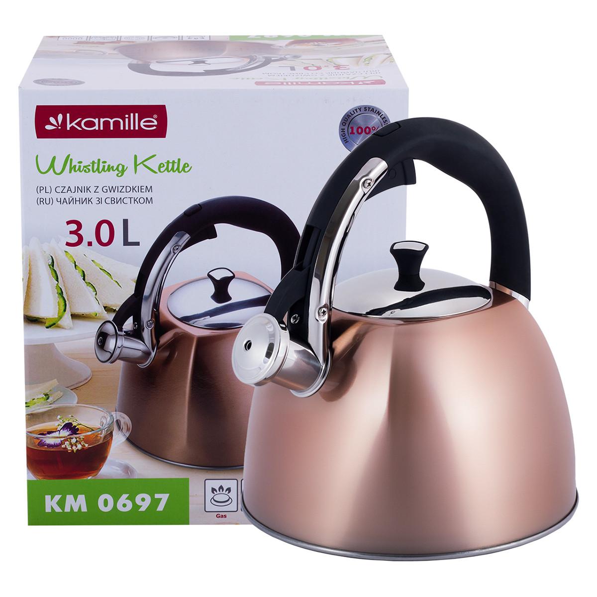 Чайник из нержавеющей стали со свистком и черной бакелитовой ручкой Kamille KM-0697 для индукции и газа (3 л)