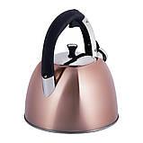 Чайник из нержавеющей стали со свистком и черной бакелитовой ручкой Kamille KM-0697 для индукции и газа (3 л), фото 5