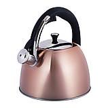 Чайник из нержавеющей стали со свистком и черной бакелитовой ручкой Kamille KM-0697 для индукции и газа (3 л), фото 6