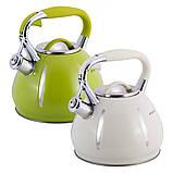 Чайник Kamille KM-0691A Зелений 3л з нержавіючої сталі зі свистком, фото 2