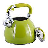 Чайник Kamille KM-0691A Зелений 3л з нержавіючої сталі зі свистком, фото 3