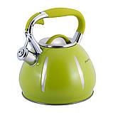 Чайник Kamille KM-0691A Зелений 3л з нержавіючої сталі зі свистком, фото 6