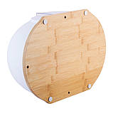 Хлебница на бамбуковой основе с крышкой из пластика Kamille KM-1100 Белая (36.5 см), фото 8