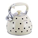 Чайник из нержавеющей стали со свистком и ручкой Kamille KM-0695AN Серый для индукции и газа (3 л), фото 10