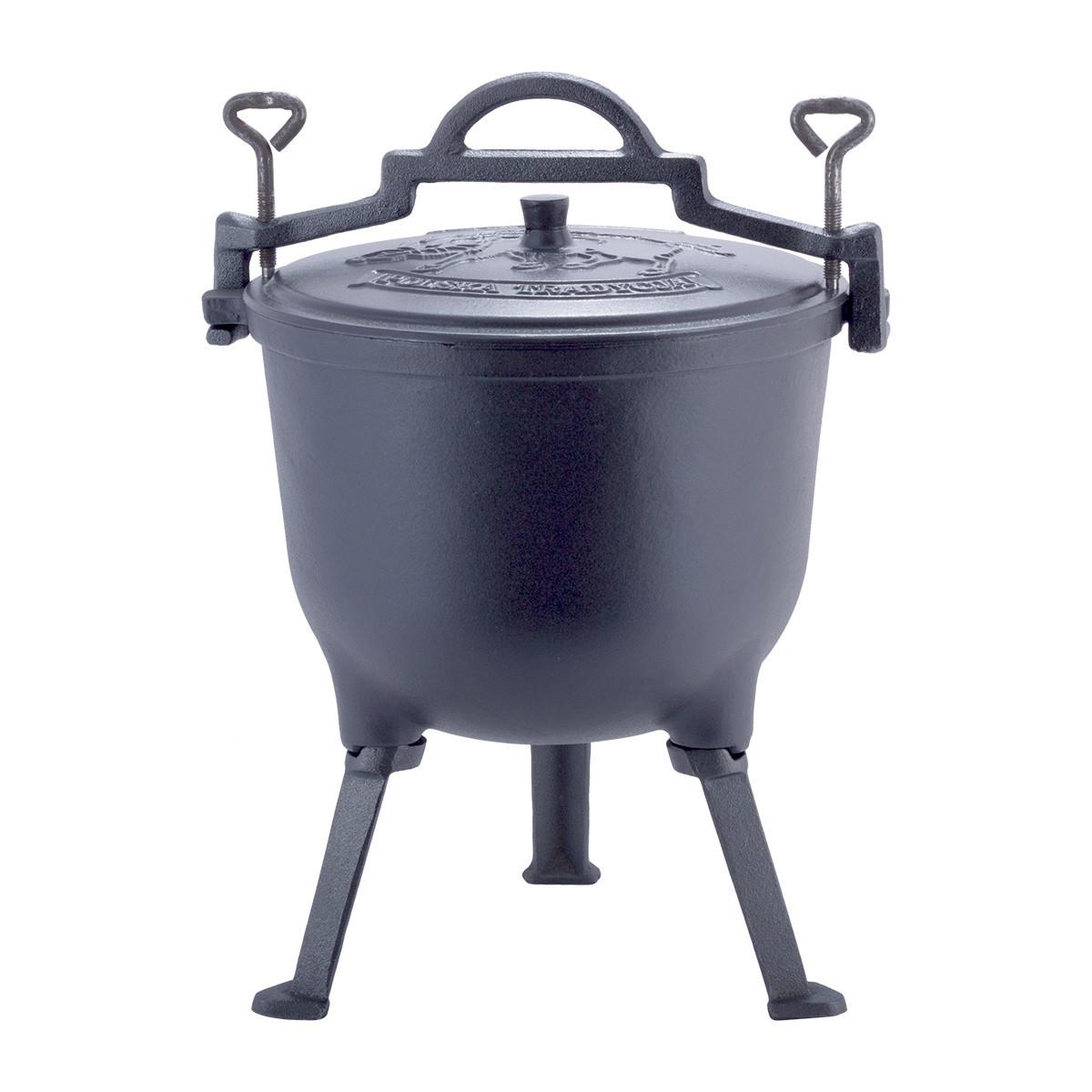 Казан чавунний емальований 15 л з кришкою Kamille KM 4808M на ніжках для приготування їжі на вогні і плиті